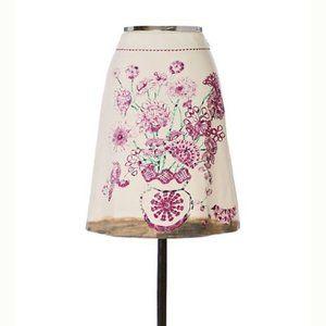 Elevenses 6 Floral Skirt Wool Anthro VASE VISITOR